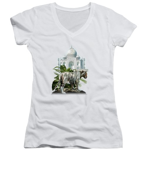 White Tiger And The Taj Mahal Image Of Beauty Women's V-Neck (Athletic Fit)