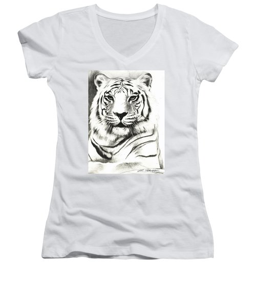 White Tiger Portrait Women's V-Neck T-Shirt