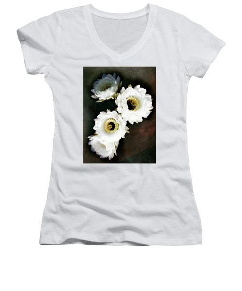 White Torch Blooms Women's V-Neck
