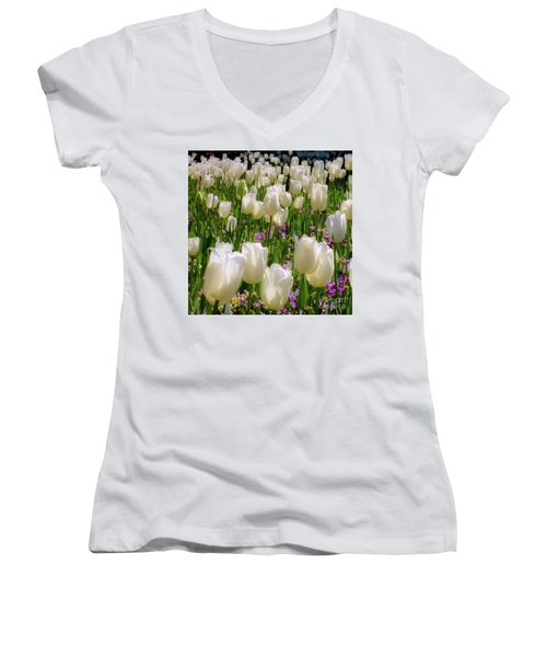 White Tulips In Bloom Women's V-Neck
