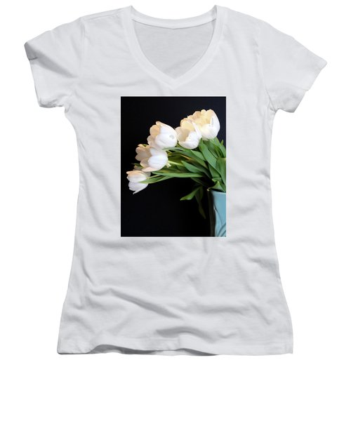 White Tulips In Blue Vase Women's V-Neck T-Shirt