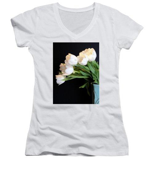White Tulips In Blue Vase Women's V-Neck (Athletic Fit)