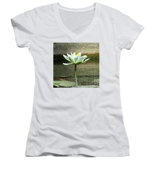 Women's V-Neck T-Shirt (Junior Cut) featuring the photograph White Water Lily 2 by Randall Weidner