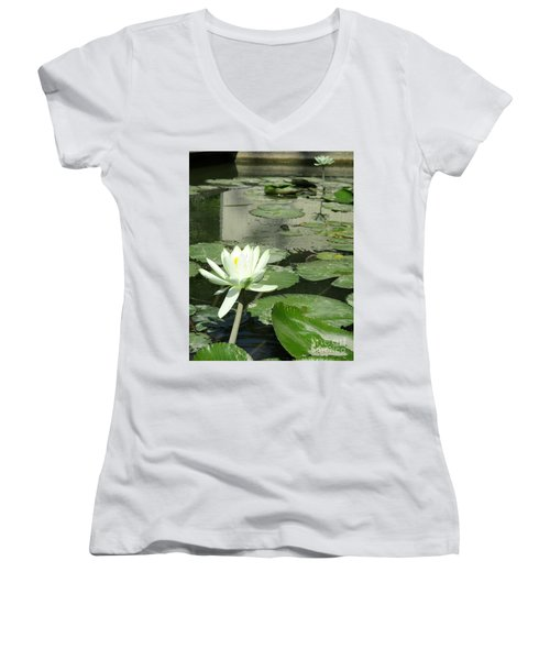 Women's V-Neck T-Shirt (Junior Cut) featuring the photograph White Water Lily 3 by Randall Weidner