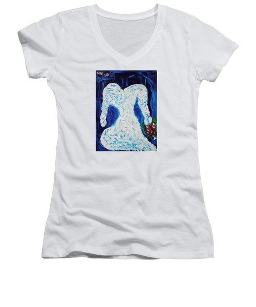 White Wedding Dress On Blue Women's V-Neck T-Shirt