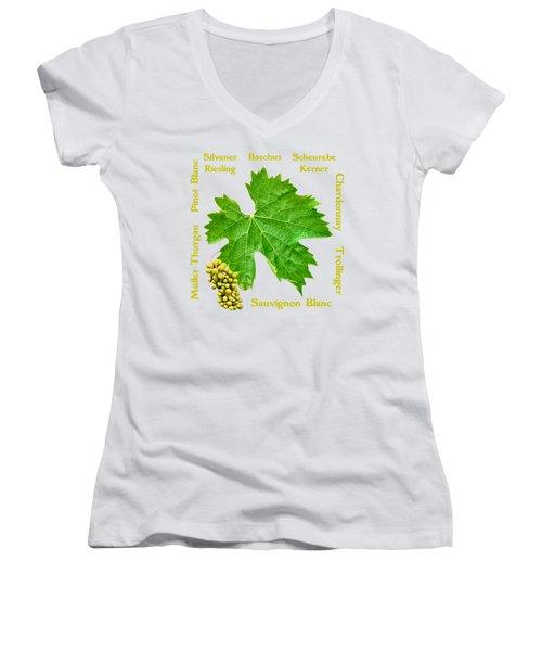 White Wine Lettering Women's V-Neck (Athletic Fit)