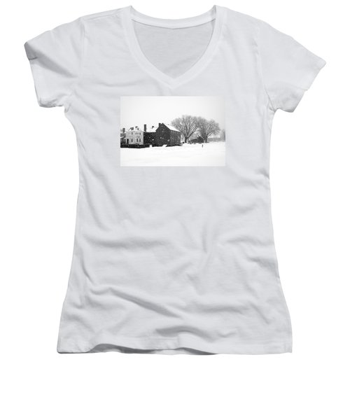 Whiteout At Strawbery Banke Women's V-Neck T-Shirt