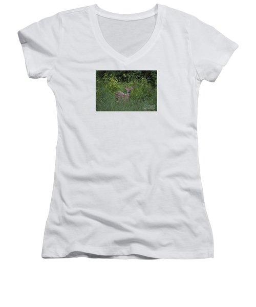 Women's V-Neck T-Shirt (Junior Cut) featuring the photograph Whitetail Fawn 20120711_37a by Tina Hopkins