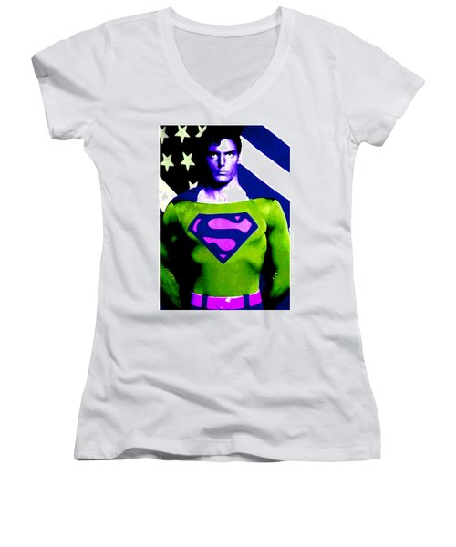 Who Is Superman Women's V-Neck (Athletic Fit)