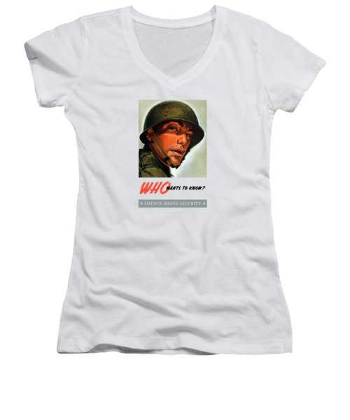 Women's V-Neck T-Shirt (Junior Cut) featuring the painting Who Wants To Know - Silence Means Security by War Is Hell Store