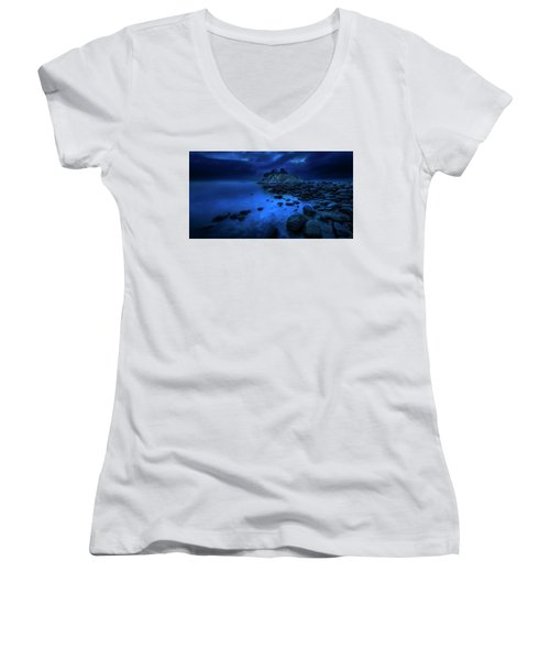 Women's V-Neck T-Shirt (Junior Cut) featuring the photograph Whytecliff Dusk by John Poon