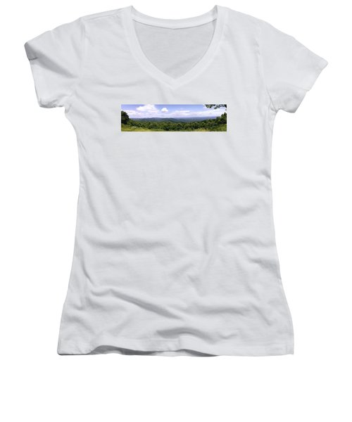 Wide Open Women's V-Neck T-Shirt (Junior Cut) by Eric Liller
