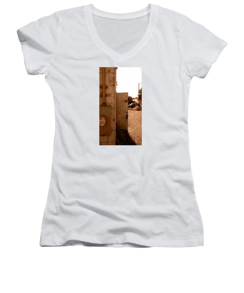 Women's V-Neck T-Shirt (Junior Cut) featuring the photograph Wide Open by Steve Sperry