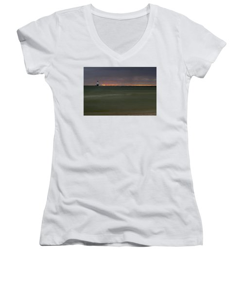 Wide View Of Lighthouse And Sunset Women's V-Neck