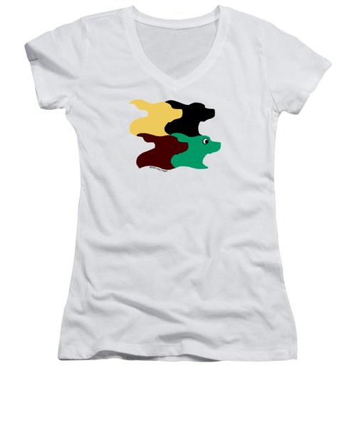 Wild And Crazy Tessellating Dogs Women's V-Neck T-Shirt (Junior Cut)