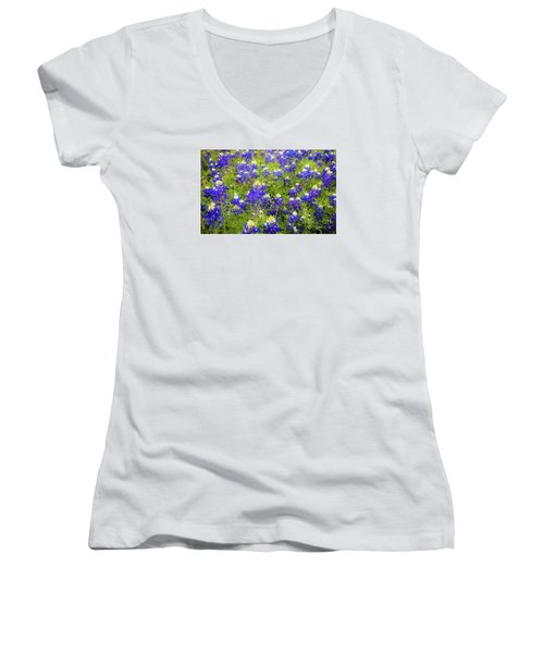 Wild Bluebonnets Blooming Women's V-Neck