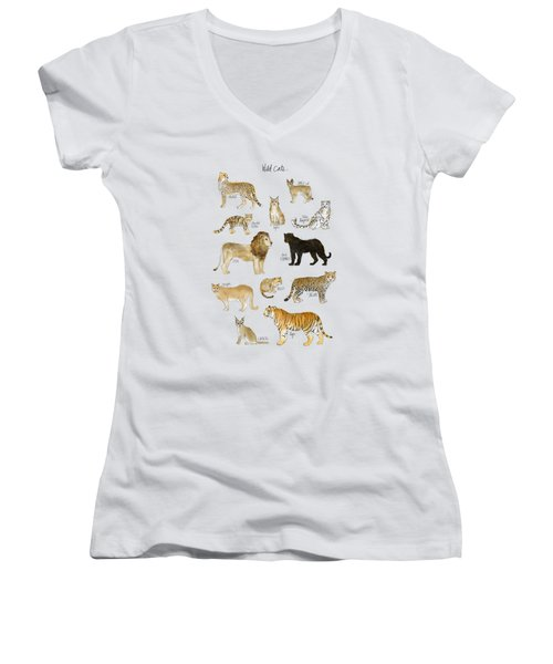 Wild Cats Women's V-Neck T-Shirt (Junior Cut) by Amy Hamilton