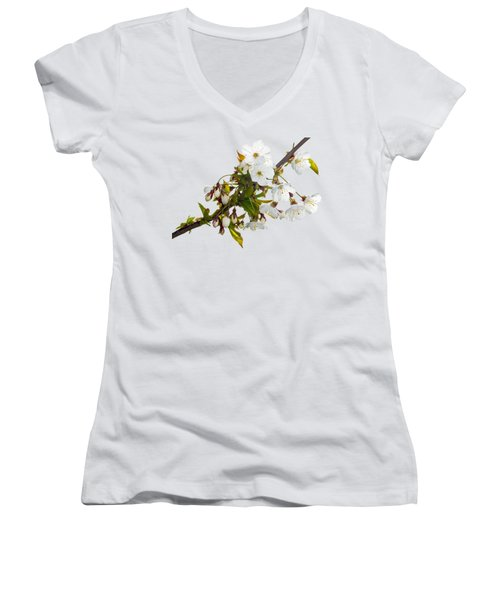 Wild Cherry Blossom Cluster Women's V-Neck T-Shirt (Junior Cut) by Jane McIlroy