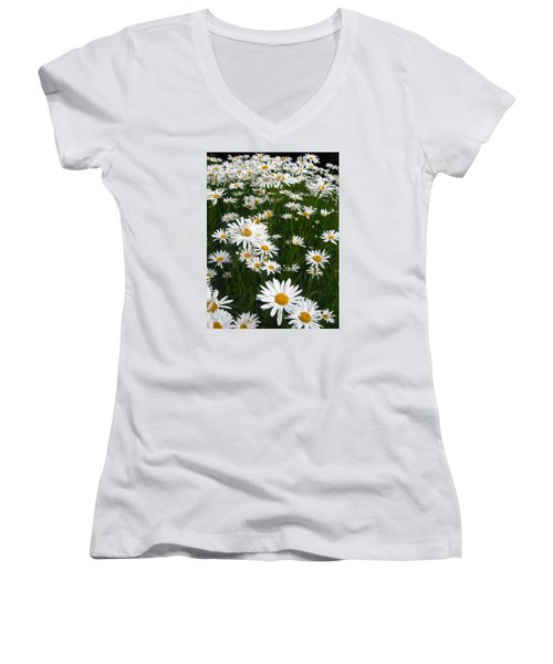 Wild Daisies Women's V-Neck T-Shirt (Junior Cut) by Dorothy Cunningham