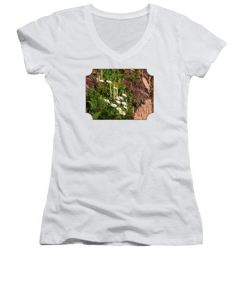 Wild Daisies In The Rocks Women's V-Neck T-Shirt (Junior Cut) by Gill Billington