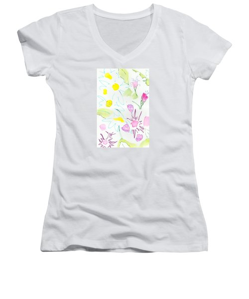 Wild Daisies Pattern Women's V-Neck T-Shirt