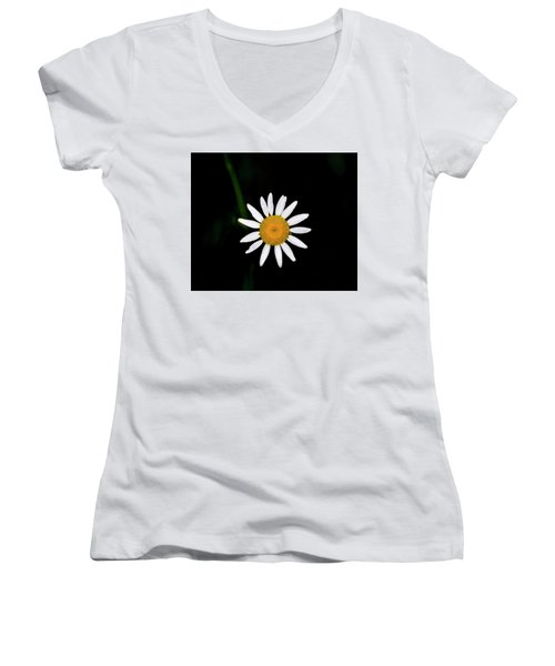 Women's V-Neck T-Shirt (Junior Cut) featuring the digital art Wild Daisy by Chris Flees
