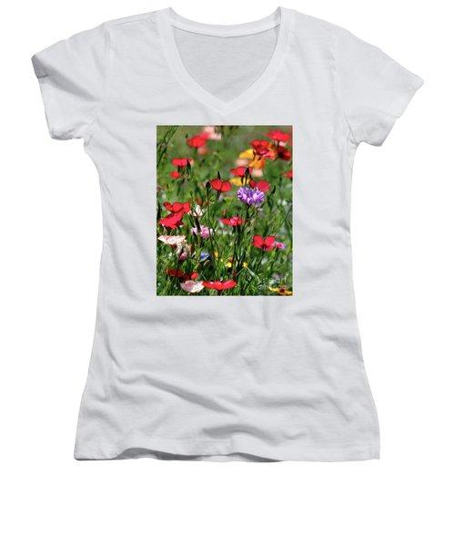 Wild Flower Meadow  Women's V-Neck T-Shirt