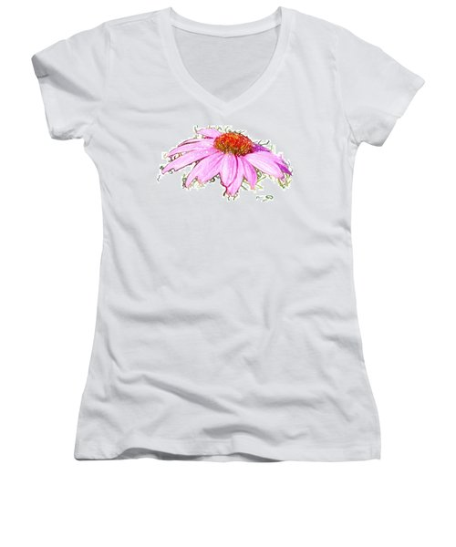 Wild Flower Three Women's V-Neck T-Shirt (Junior Cut) by Heidi Smith