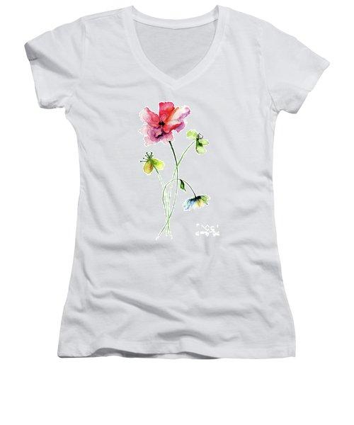 Wild Flowers Watercolor Illustration Women's V-Neck T-Shirt