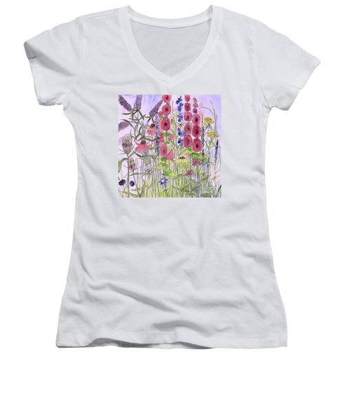 Wild Garden Flowers Women's V-Neck (Athletic Fit)