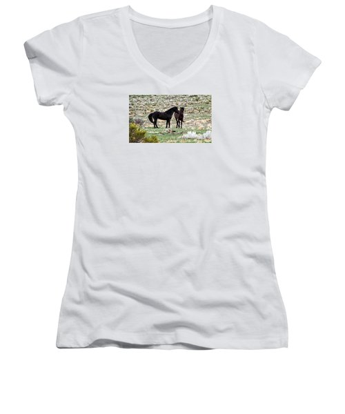 Wild Mustang Stallions Women's V-Neck