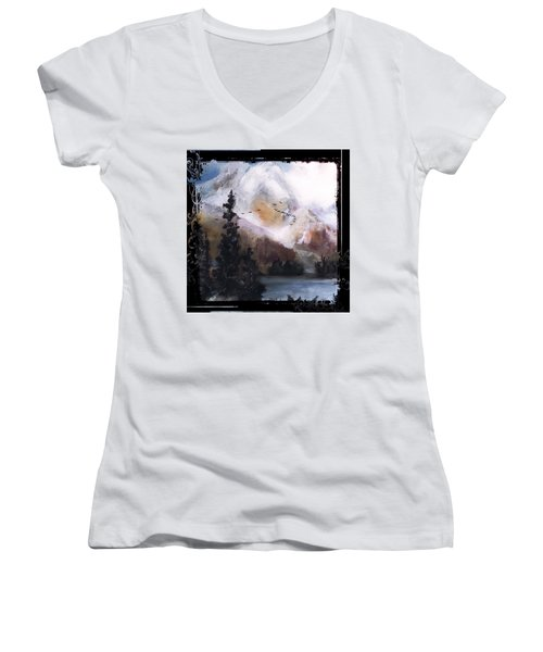 Wilderness Mountain Landscape Women's V-Neck T-Shirt (Junior Cut) by Michele Carter