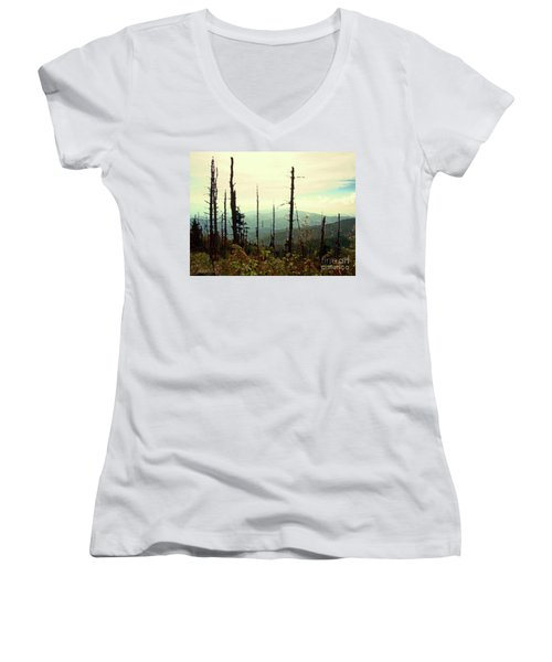 Women's V-Neck T-Shirt (Junior Cut) featuring the mixed media Wildfire by Desiree Paquette