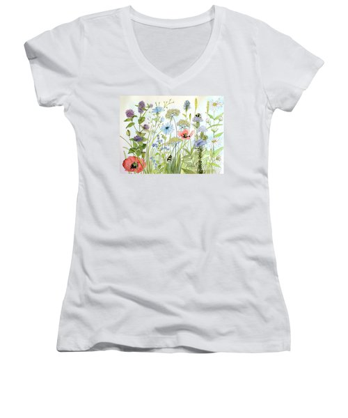 Wildflower And Bees Women's V-Neck