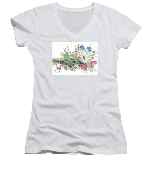 Wildflower Bouquet Women's V-Neck (Athletic Fit)
