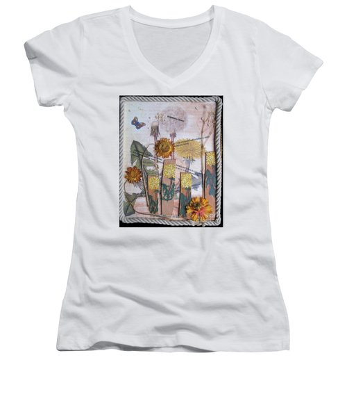 Women's V-Neck T-Shirt (Junior Cut) featuring the mixed media Wildflower Honey by Sandy McIntire
