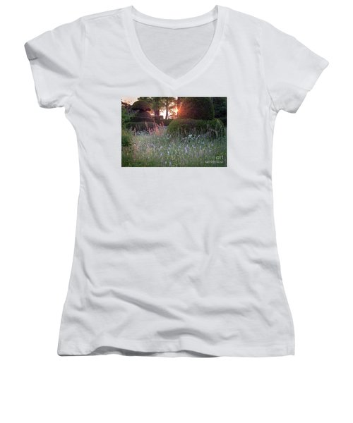 Wildflower Meadow At Sunset, Great Dixter Women's V-Neck T-Shirt