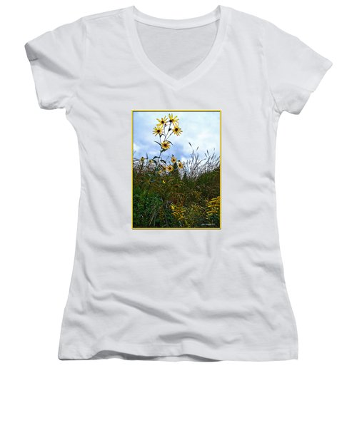 Women's V-Neck T-Shirt (Junior Cut) featuring the photograph Wildflowers And Mentor Marsh by Joan  Minchak