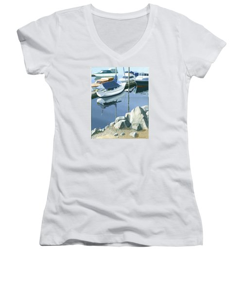 Women's V-Neck T-Shirt (Junior Cut) featuring the painting Wildflowers On The Breakwater by Gary Giacomelli