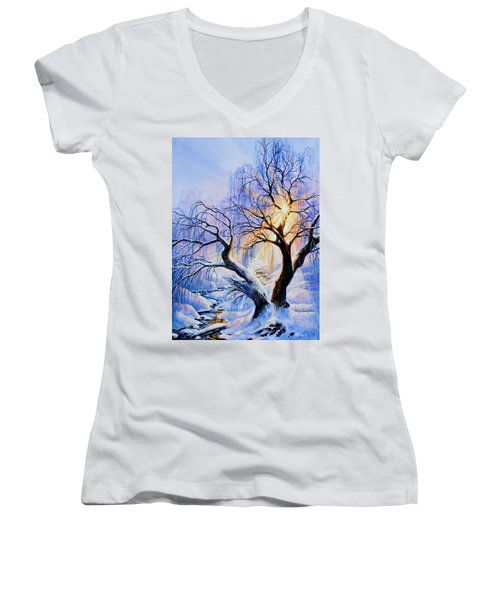 Women's V-Neck (Athletic Fit) featuring the painting Willow Creek Sunset by Hanne Lore Koehler