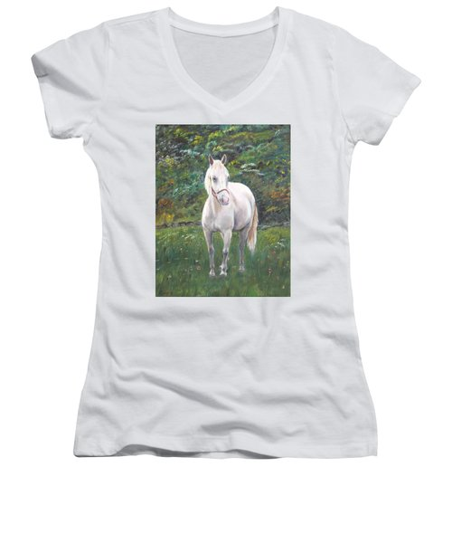 Women's V-Neck T-Shirt (Junior Cut) featuring the painting Willow by Elizabeth Lock