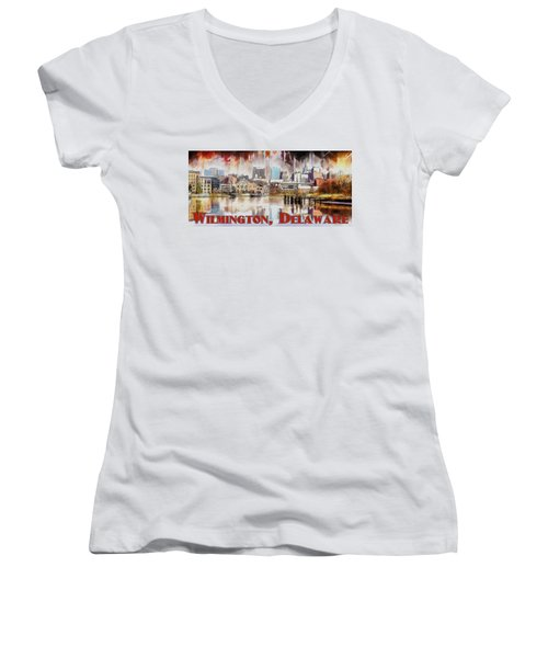 Women's V-Neck T-Shirt (Junior Cut) featuring the painting Wilmington City Lights by Kai Saarto