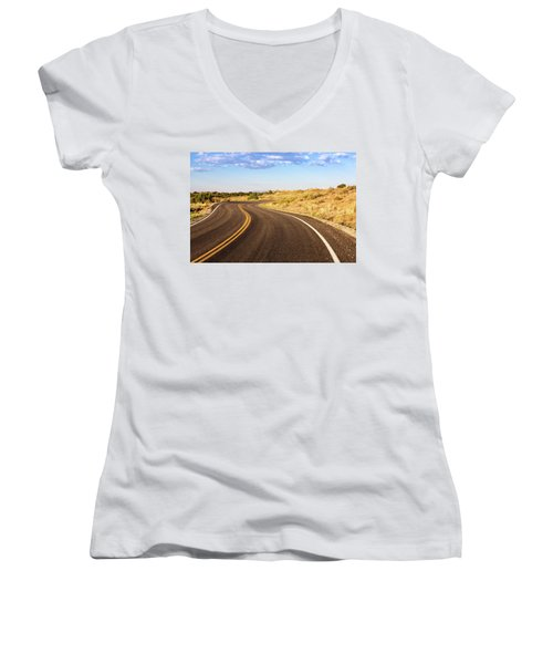 Winding Desert Road At Sunset Women's V-Neck