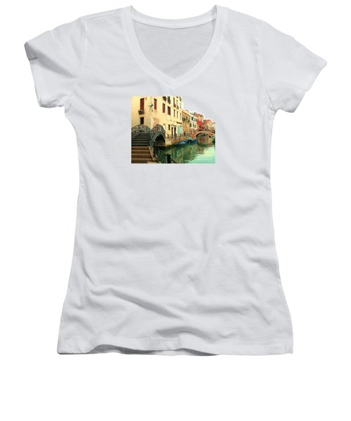 Winding Through The Watery Streets Of Venice Women's V-Neck T-Shirt (Junior Cut) by Barbie Corbett-Newmin