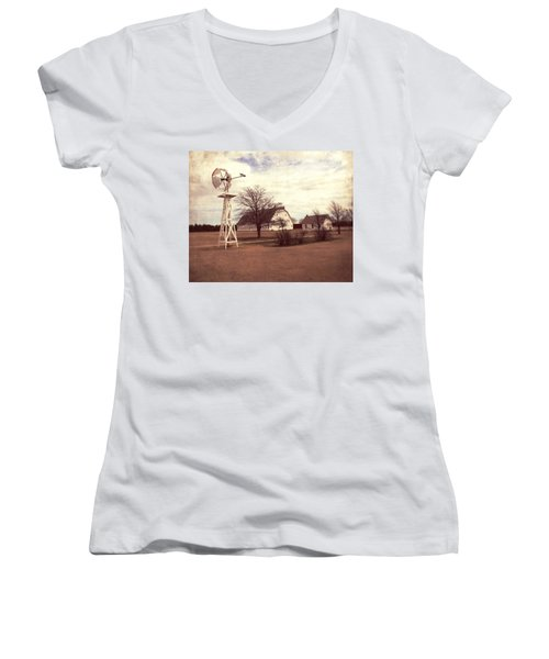 Women's V-Neck T-Shirt (Junior Cut) featuring the photograph Windmill At Cooper Barn by Julie Hamilton