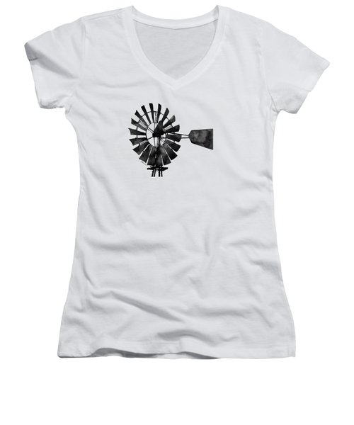 Women's V-Neck T-Shirt (Junior Cut) featuring the painting Windmill In Black And White by Hailey E Herrera