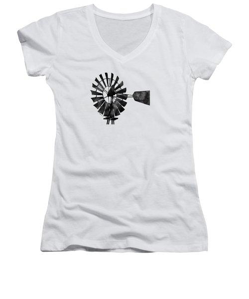 Windmill In Black And White Women's V-Neck T-Shirt (Junior Cut) by Hailey E Herrera