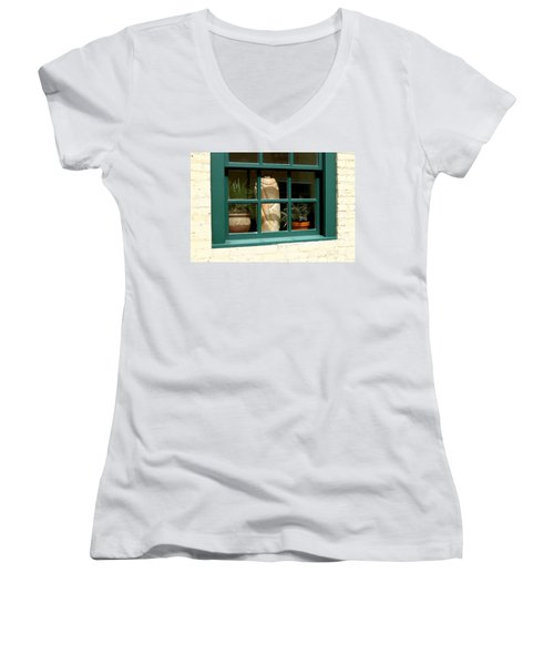 Women's V-Neck T-Shirt (Junior Cut) featuring the photograph Window At Sanders Resturant by Steve Augustin
