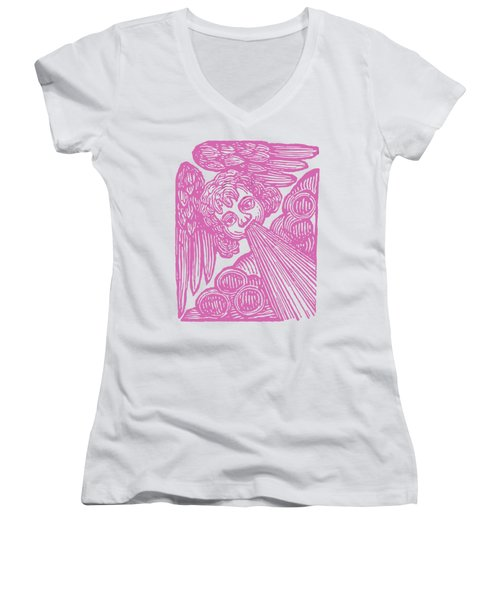 Women's V-Neck T-Shirt (Junior Cut) featuring the drawing Winds Tess by Edward Fielding