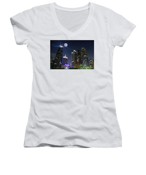 Windy City Women's V-Neck T-Shirt (Junior Cut) by Frozen in Time Fine Art Photography